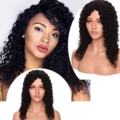 """Perruque Femme Naturelle Brésilienne Bob Courte sans Lace Frontal Curly Frisee Afro Vrai Cheveux Humain san Colle -100% Human Hair 16""""(40CM) Deep Wave - Noir Naturel"""