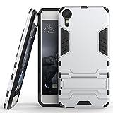 Hülle für HTC Desire 10 Lifestyle (5,5 Zoll) 2 in 1 Hybrid Dual Layer Shell Armor Schutzhülle mit Standfunktion Hülle (Silber)