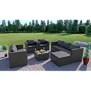 Abreo Rattan Corner Sofa 7 Seater GardenFurniture Set