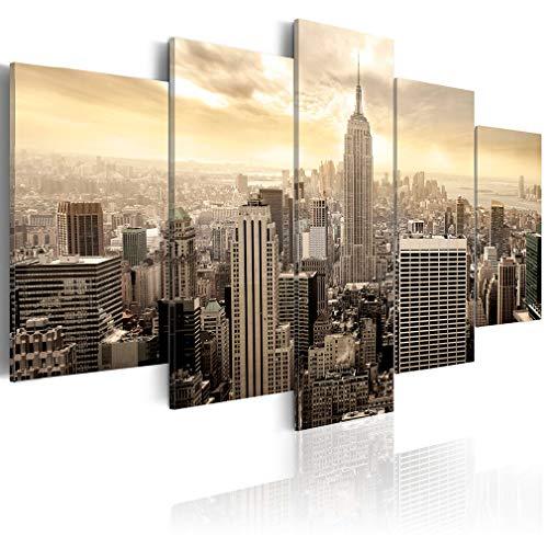 decomonkey Bilder New York 200x100 cm XXL 5 Teilig Leinwandbilder Bild auf Leinwand Wandbild Kunstdruck Wanddeko Wand Wohnzimmer Wanddekoration Deko Stadt City Architektur Panorama