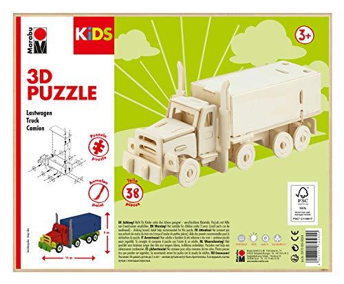 Marabu 317000000004 - KiDS 3D Holzpuzzle Lastwagen, mit 38 Puzzleteilen aus FSC-zertifiziertem Holz, ca. 19 x 8 cm groß, einfache Stecktechnik, zum individuellen Bemalen und Gestalten
