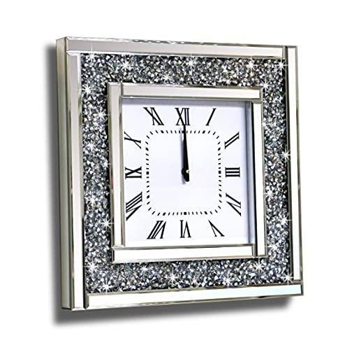 Crush Diamond Mirrored Square Decorative Mirror Wall Clock for Home Decoration Crystal Sparkle...