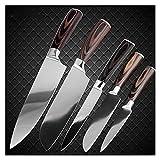 Xizdth Cuchillo de Cocina Chef Cuchillos de 8 Pulgadas japonés Alto Carbono Acero Inoxidable Cuchillo Vegetal santoku Cuchillo Herramienta de rebanado (Color : 5PCS Set)