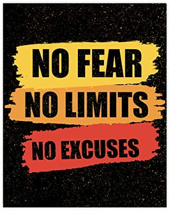 No Fear No Limits No Excuses Motivational Gym Quotes 8 x 10 Exercise and Fitness Wall Art Print product image