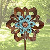 MKIU,External Vertical Metal Sculpture Piles for Outdoor Courtyard Lawns and Gardens Single Blade Easy Spinning Kinetic Wind Spinner 59x214cm Windmill Decoration