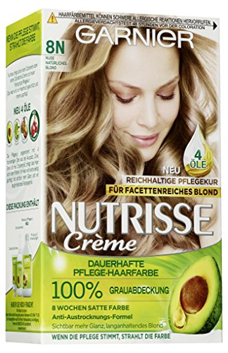 Garnier Nutrisse Creme 8N Natürliches Blond, Dauerhafte Haarfarbe mit Olivenöl und Avocadoöl, Haarfarbe blond (3 Stück)