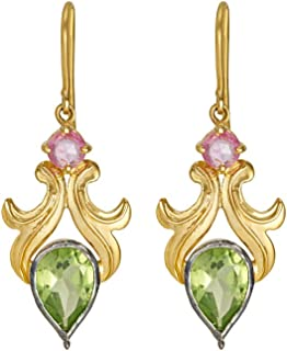 Gehna Yellow Gold, Aesthetic Peridot and Pink Sapphire Drop Earrings