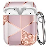 Hamile Compatible with Airpods Case Cover Cute Protective Case for Apple Airpods 2 & 1, Fadeless Shockproof Hard Case Cover with Portable Keychain for Girls Women Men - Pink Geometric