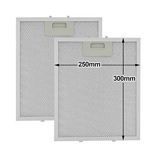Poweka Filter für Dunstabzugshaube, 300 x 250 mm, passend für viele führende Marken von Dunstabzugshauben/Abluftventilatoren (2 Stück)