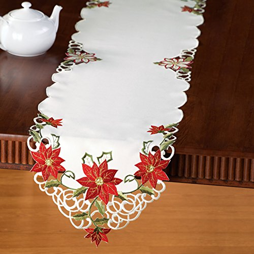 Collections Etc Embroidered Christmas Poinsettia Table Linens, Runner