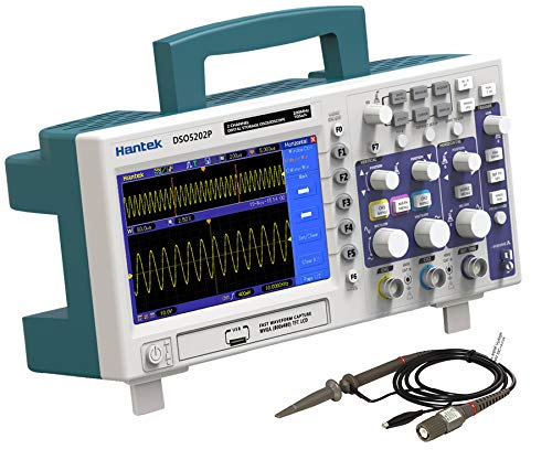 Osciloscopio digital, Hantek Dso5202p almacenamiento Osciloscopio 200MHz 2 canales 1GSa / s Longitud de registro Osciloscopio de mano USB