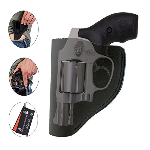 CyberDyer Ultimate IWB Holster Leather Right Hand Pistol Holster for Belts Fits Most Part J Frame 38 Special Revolver Ruger LCR Smith and Wesson Bodyguard Taurus (Black)