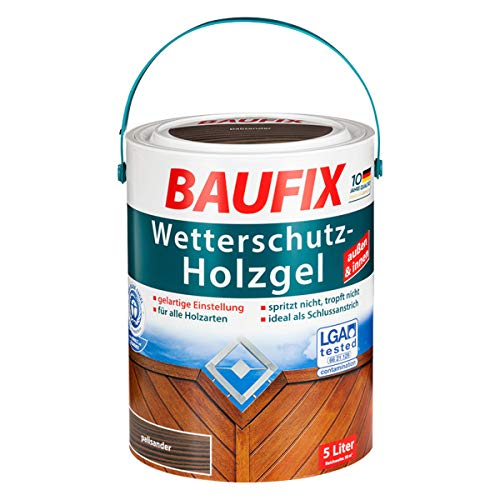 Baufix Wetterschutz Holzgel 5 Liter Dunkelbraun, Palisander (Palisander)