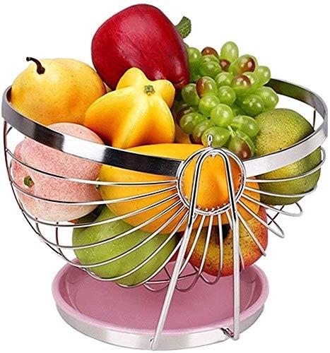 ZXL Fruit bowl fruitschaal, roestvrij staal swing metaal chroom fruit mand aanrecht opslag ronde kom
