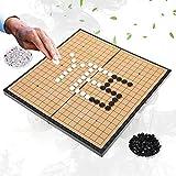 Gioco di Strategia Go & Go Bang, Go/Weiqi Classico Go Gioco da Scacchi Impostato con Pietre di plastica e Scacchiera Pieghevole per Bambini Adulti