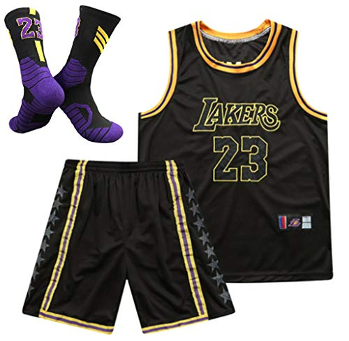 GYBY (Vest + Shorts + Socks) #23 Lakers James Men's Basketball Uniform Suit, Basketball Uniform Summer Embroidery Jersey, Can Be Washed Repeatedly Black-S