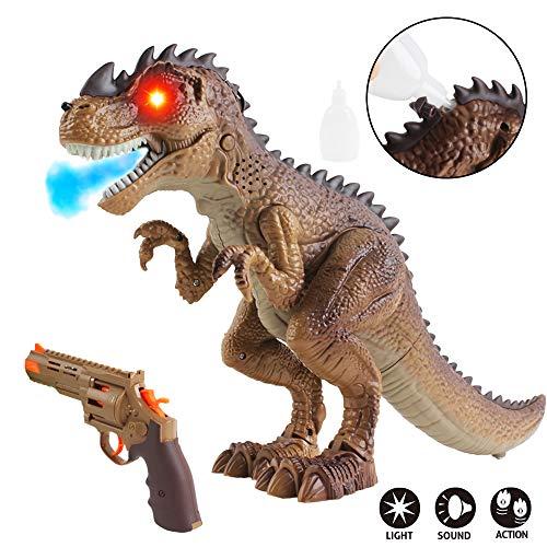 deAO Intelligente T-Rex Dinosaurus Schiet Jacht Speelgoed met Lopende, Gesimuleerd Gebrul en Vuur Ademende Effecten met inbegrepen Speel Pistool