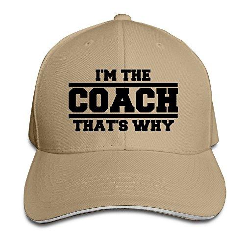 YhsukRuny Custom Im The Coach Thats Why Adjustable Sandwich Hunting Peak Hat/Cap Natural