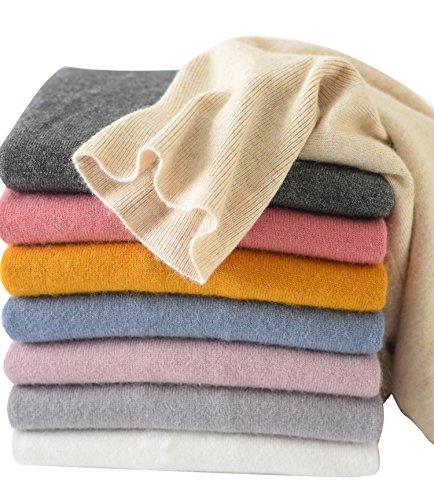LongMing Damen 100% Kaschmir Pullover for Winter Lange Ärmel Hoher Hals und Figur Schmeichelnde Casual Swaeter (S/EU Size 36/38, Kamel)
