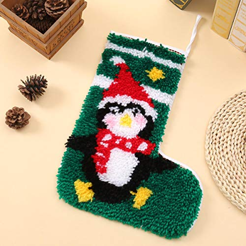 DIY Gift for Kids Latch Hook Kits Christmas Stockings with Pattern Printed Shaggy Decoration Christmas Ornament Bag for Family, Beyond Your Thoughts Felt Applique Kit Christmas Penguin 30x45cm