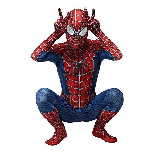 Traje de Cosplay del traje del hombre araña para los adultos de los niños, trajes de superhéroes Niño Niños Lycra Spandex del mono del estilo 3D de Halloween Carnaval Complementos Disfraz,180~185cm