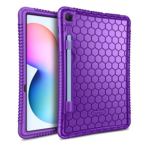 Fintie Silicone Case for Samsung Galaxy Tab S6 Lite 10.4'' 2020 Model SM-P610 (Wi-Fi) SM-P615 (LTE), [S Pen Holder] Honey Comb Series Kids Friendly Light Weight Shock Proof Protective Cover, Purple