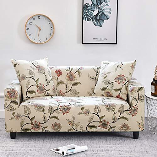 WXQY Funda de sofá elástica con Estampado Floral de Hojas para Sala de Estar, Protector de sofá, Funda de sillón, Funda de sofá de decoración del hogar A21 de 4 plazas