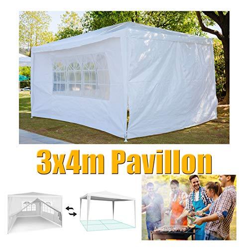 Huini 3x4m Gartenpavillon Outdoor-Zelt mit 4 Seitenwand für Partyhochzeit BBQ wasserdichte Markise Patio Pavillon Einfache Montage - Weiß