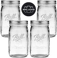Ball Mason Jars Wide Mouth 32 oz Bundle with Non Slip Jar Opener- Set of 4 Quart Size Mason Jars - Canning Glass Jars...