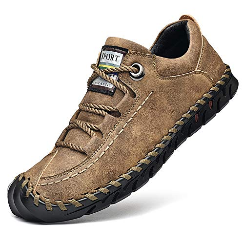 Cmaocv Men's Driving Leather Walking Lightweight Casual Lace Loafer Handmade Sports Athletic Work Shoes Khaki 10.5 M US 45