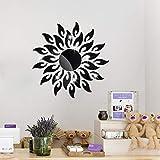 Yolistar 27 Pcs Flor del Sol Pegatinas Decorativas Pared Negro, Pegatinas de Cristal Acrílico Brillante, 3D Modern Espejo de Pared de la DIY, Decoración Para el Hogar