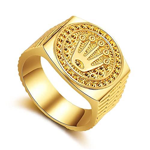 SouiWuzi Anillo Hip Hop Ring Banda Tallada Coronet Diadem para Hombre Mujeres Mujeres San Valentín Día De La Boda Fiesta De Compromiso De Cumpleaños Tamaño De Oro 9