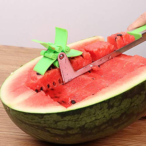 2 Packs Novel Windmill Watermelon Cutter Tool,Practical Watermelon Knife,Stainless Steel Melon Tongs With Fruit Watermelon Kitchen Craft Spoon and Forks