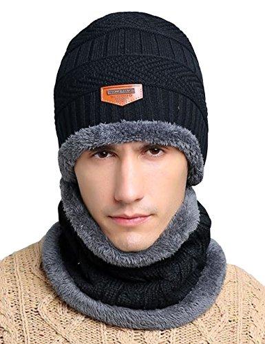 Closoul Direct Cappello Cappellini Uomo Invernali Berretto Uomo in Maglia con Sciarpa Caffe