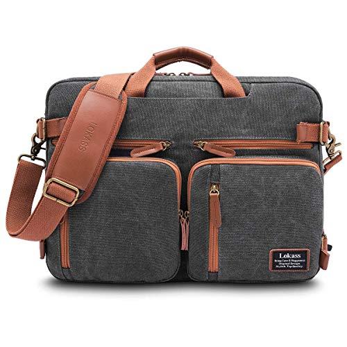 CoolBELL umwandelbar Aktentasche Messenger Bag Umhängetasche Laptop Tasche Business Backpack Multifunktions Reise Rucksack Notebook Schultertasche Passend für 17 Zoll Laptop/Herren/Damen, Canvas Grau