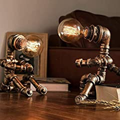 Vintage Table Lamp Retro Industrial Iron Water Pipes Robot Table lamp Steampunk Desktop Light(Not Included Bulb) #5