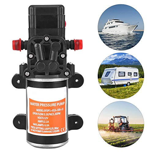 AYNEFY Diafragma Pomp, DC 12V 100PSI Zelfpriming Water Hoge Druk Diafragma Pomp voor RV Caravan Marine Boot