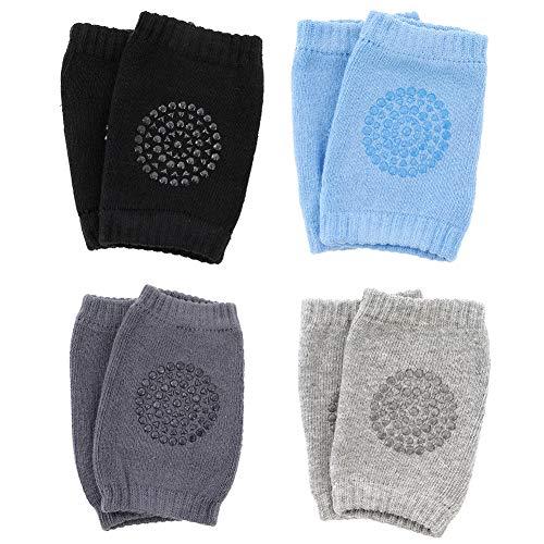 Gitua 4 Paar Baby Krabbeln Knieschoner, Anti-Rutsch Elastische Baby Knieschützer mit Gummipunkte für 0-24 Monate Jungen und Mädchen