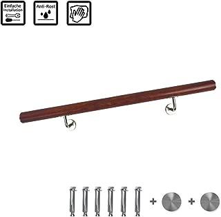 FROADP Pasamanos de acero inoxidable AISI304 Contra la barandilla de la pared para escaleras internas y externas(grano de madera oscura, 120 cm)