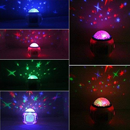 SUNDREAMTECH Reloj despertador LED con luz nocturna Proyector de música Estrellas Redondo, Ocean Relax Proyector,Lámpara nocturna, Lampara noche,Proyección de música proyector DIY para bebe niño niña