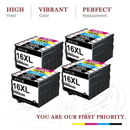 Toner Kingdom Cartucho de Tinta Compatible para Epson 16XL 16 XL para Workforce WF2510 WF2630 WF2760 WF2530 WF2520 WF2540 WF2750 WF2660 WF2650 WF2010 (8 Negro, 4 Cian, 4 Magenta, 4 Amarillo)