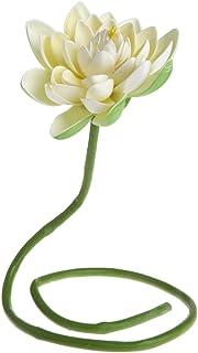 Cansenty - Lily de agua artificial de flor de loto con varilla de plantas para decoración de jarrón de estanque de jardín marfil