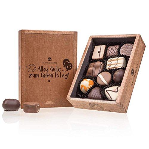 Elegance - Geburtstag - zehn handgemachte Pralinen im Holzkästchen - Schokolade - Geschenk - Geburtstag