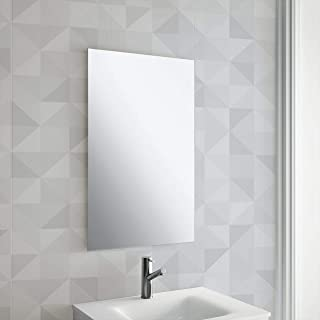 Maison & White Frameless Rectangle Mirror | Includes Chrome Cap Hanging Fixings | Pre-Drilled Holes | Wall Mounted Unframed Rectangle Bathroom Mirror | M&W (450x300mm)