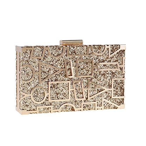 Warm Thuis Europese en Amerikaanse Kleine Vierkante Pakket Handtas Bankettas Diamant Avondtas Hollow Out Het Rode Tapijt Gouden Ketting Koppeling 19 * 11 * 4CM Leuke