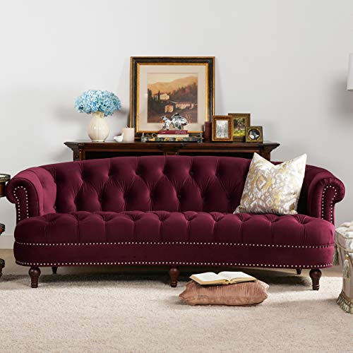 Jennifer Taylor Home La Rosa Collection Chesterfield Style Diamond Tufted Upholstered Velvet Sofa With Rolled Back Wooden Legs, Burgundy