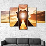 Unframed Canvas Picture Print Painting Canvas, 5 Pieces Hands Prayer Cross Wallpaper Wall Art Painting for Home Living Room Office Modern Decoration Gift Art Print Images (Unframed,L:30x45cm-2P 30x60cm-2P 30x75cm-1P)
