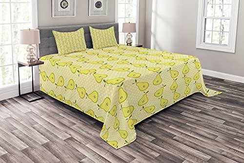 ABAKUHAUS Obst Tagesdecke Set, Geschnetzeltes Birnen Illustration, Set mit Kissenbezügen farbfester Digitaldruck, 220 x 220 cm, Pastel Yellow Olivgrün