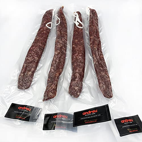andreu - 4 unidades de 'Fuet' Artesano de pieza entera - Espetec con las mejores carnes garantizando el mejor sabor - cada pieza de fuet es de 180 gr (4 Fuets Artesanos)