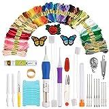Juego de agujas de bordado y punzón para punzón de bolígrafo, parches de bordado/patrones y tijeras, juego de regalo, juego de principiantes de agujas de bordado, incluye 100 madejas de colores